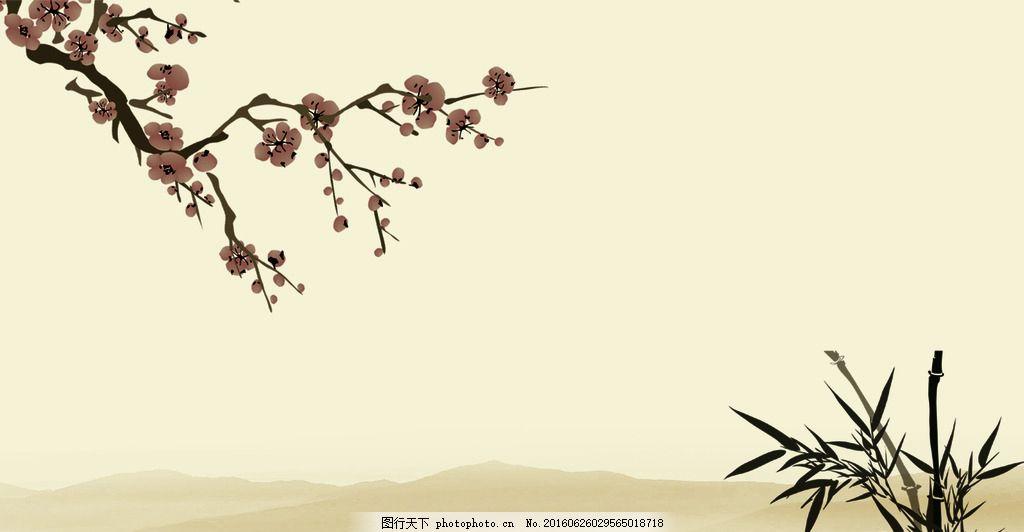 水墨画 模版下载 荷花 蜻蜓 山水画 风景画壁画 背景画 山水风景