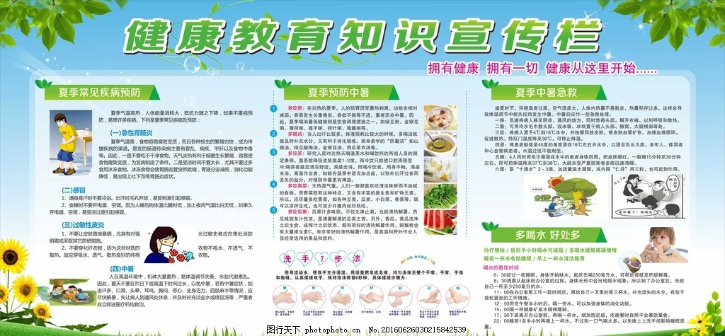夏季健康教育 防暑 多喝水 中暑急救 夏季疾病預防 設計 廣告設計