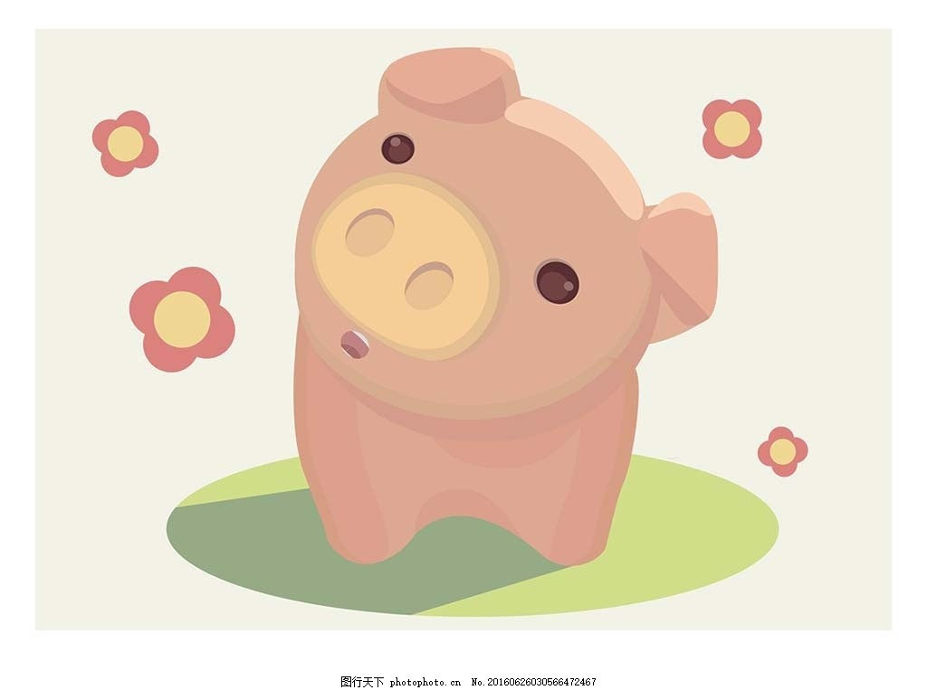 小猪 矢量图 插画 矢量 卡通 动漫 花猪 可爱 动物 小动物 q版 q版