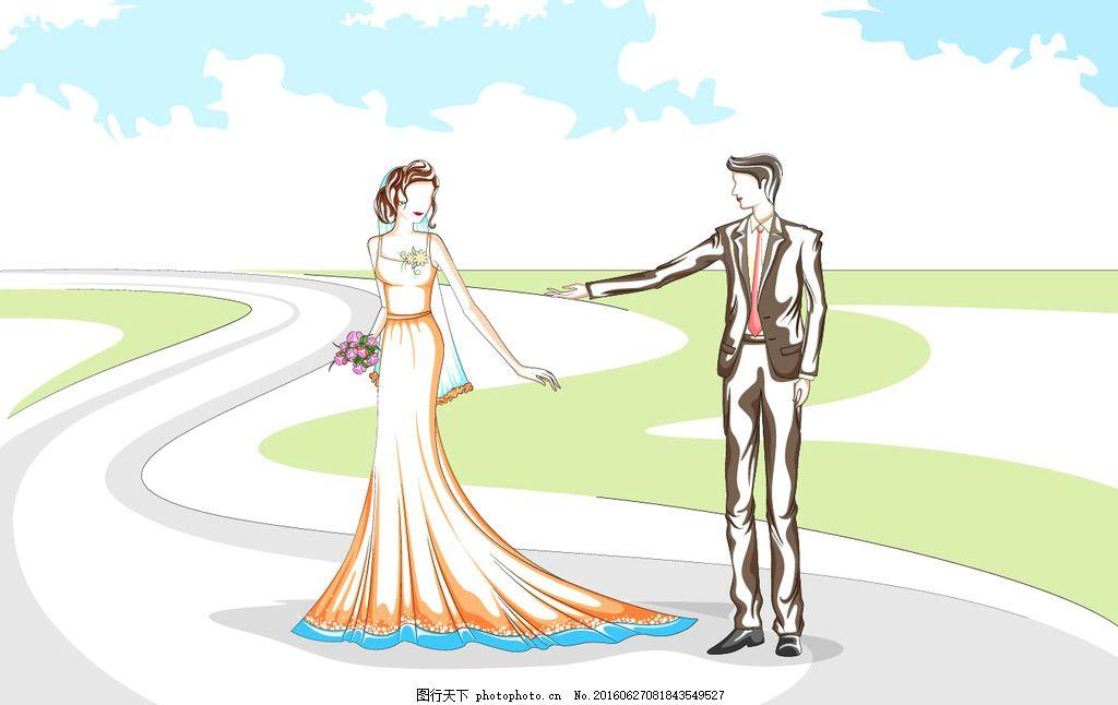 手绘新人情侣 手绘新人 手绘情侣 手绘婚礼 新人情侣 手绘新郎新娘 设