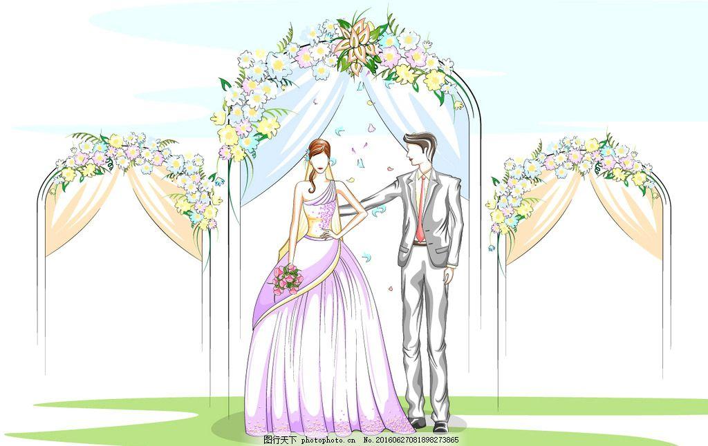 手绘新人情侣 手绘新人 手绘情侣 手绘婚礼 新人情侣 手绘新郎新娘