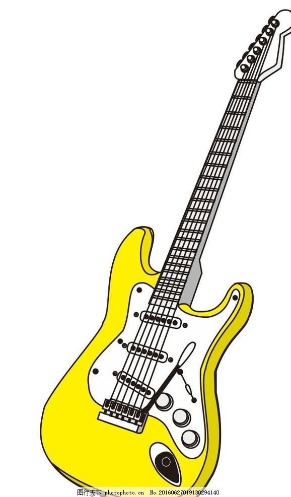 吉他 乐器 音乐 演奏器具 简笔画 线条 线描 简画 黑白画 卡通 手绘