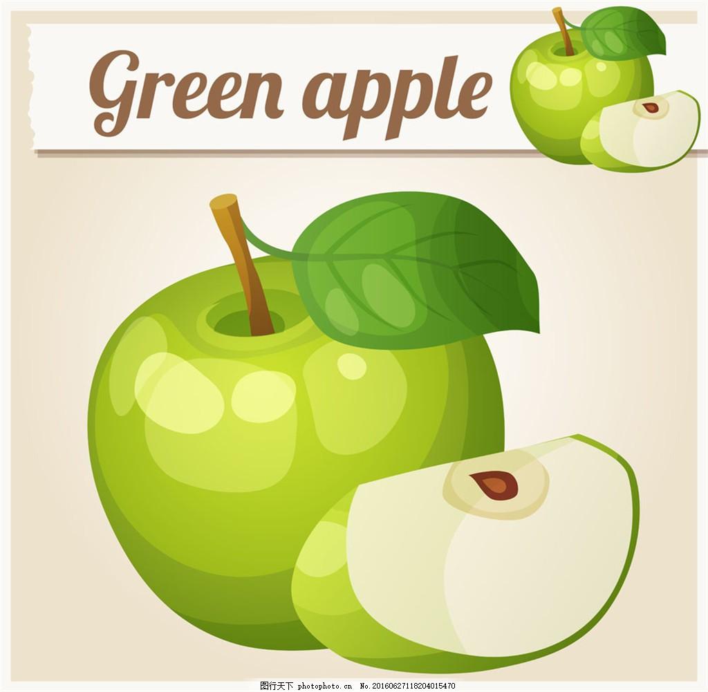 切开的绿色苹果图片图片