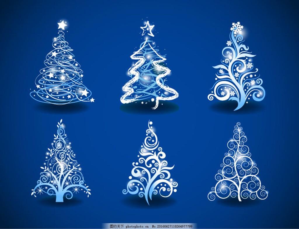 蓝色欧式圣诞花纹 边框图片