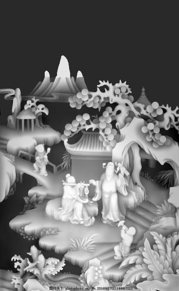 八仙人物浮雕山水人物风景灰度图