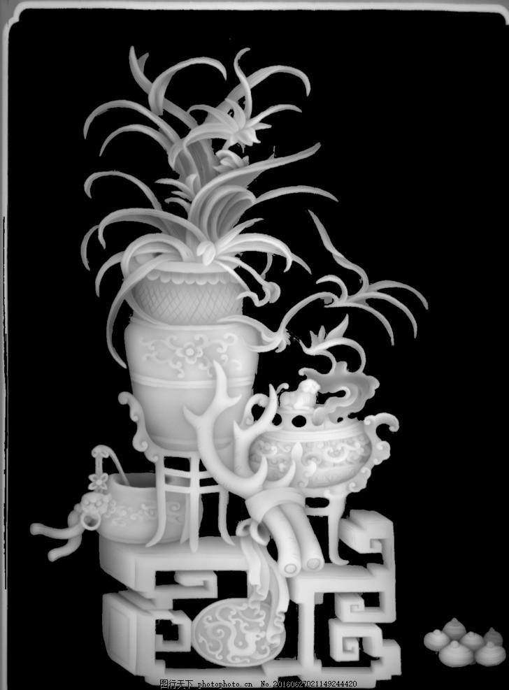 兰花花瓶博古浮雕灰度图