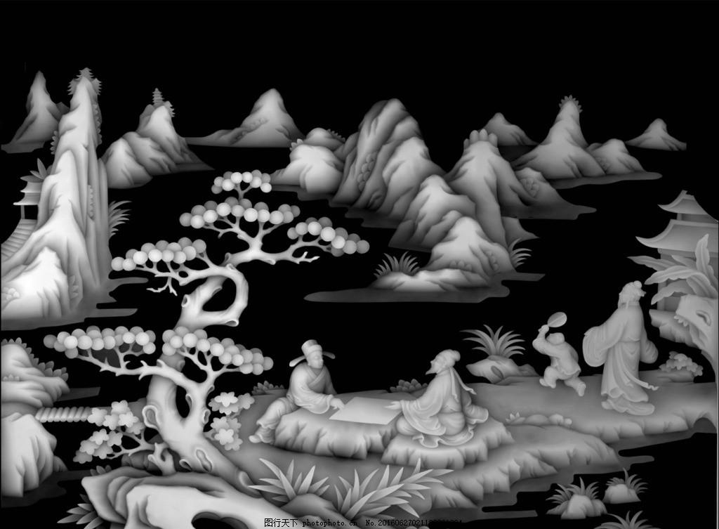 山水风景人物下棋作画浮雕灰度图