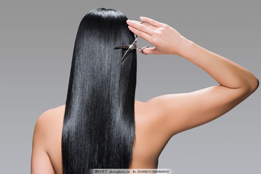 美女剪头发背影图片