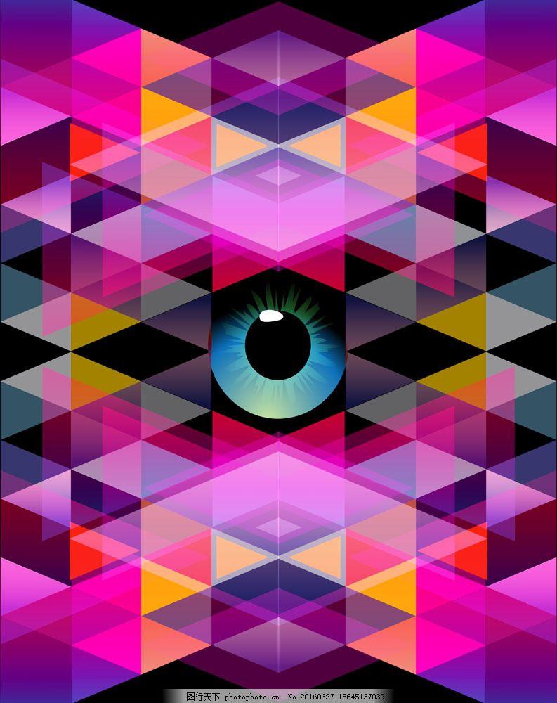 彩色格子背景与眼睛图片