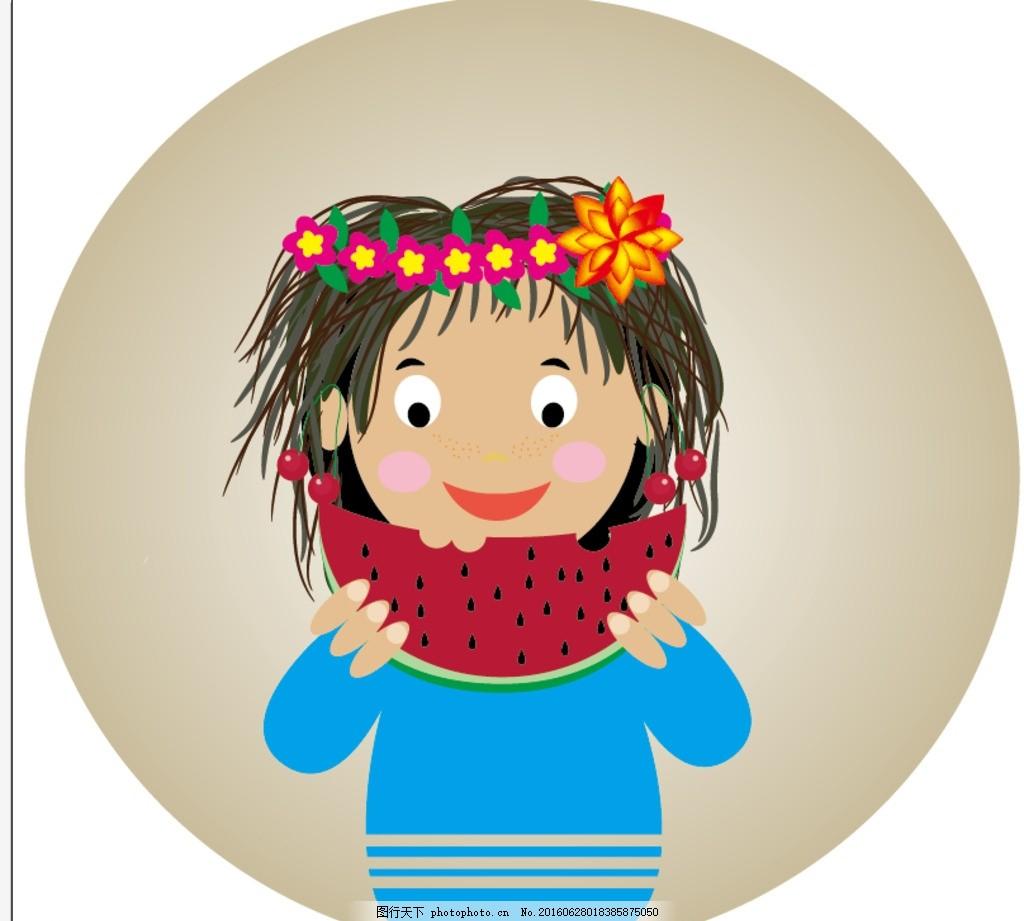 西瓜 花环 蓝色 适量图 可爱的小朋友 ai 大眼睛 插画 设计 动漫动画