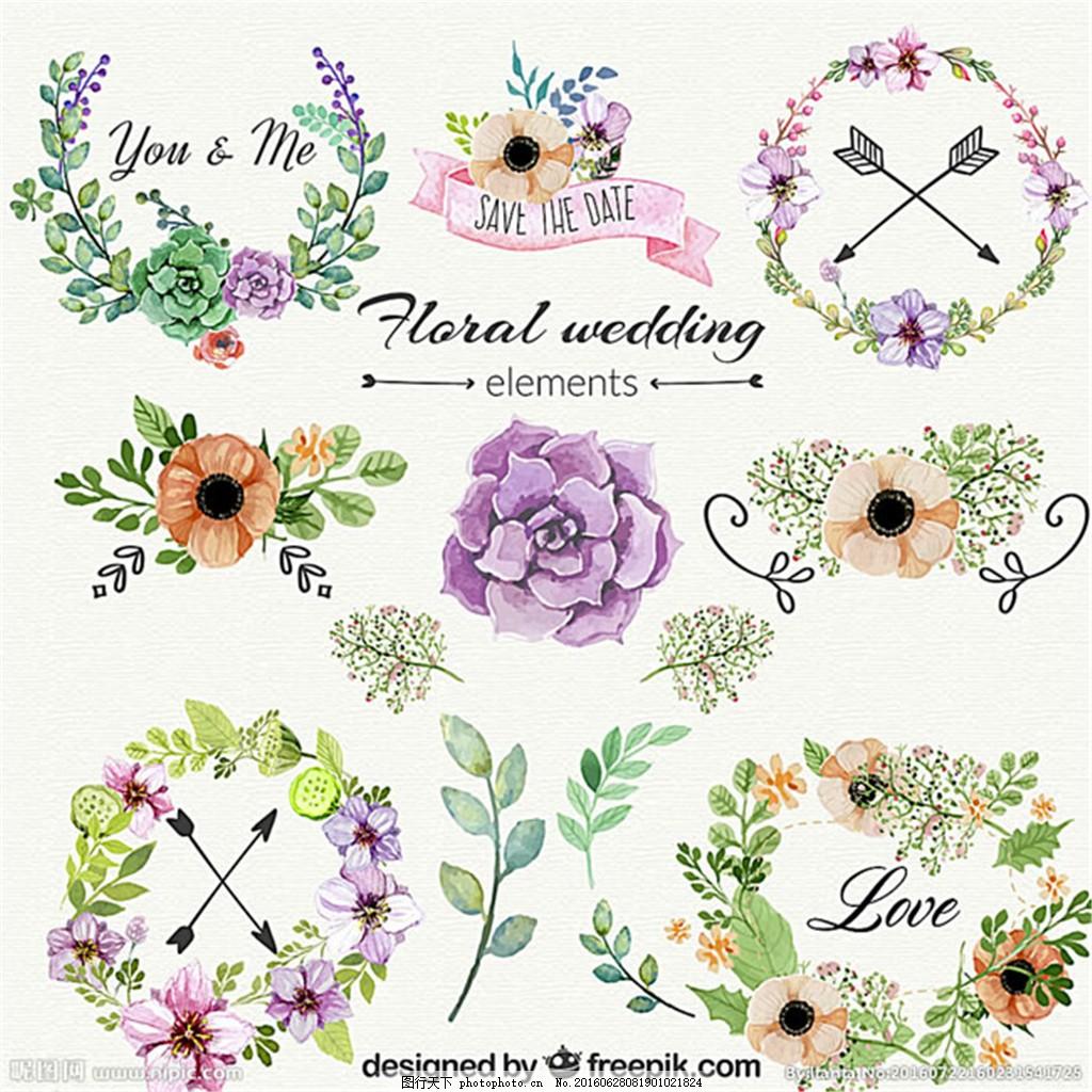 唯美手绘花朵矢量图 手绘花朵图片 手绘矢量图 花边 花卉 花圈