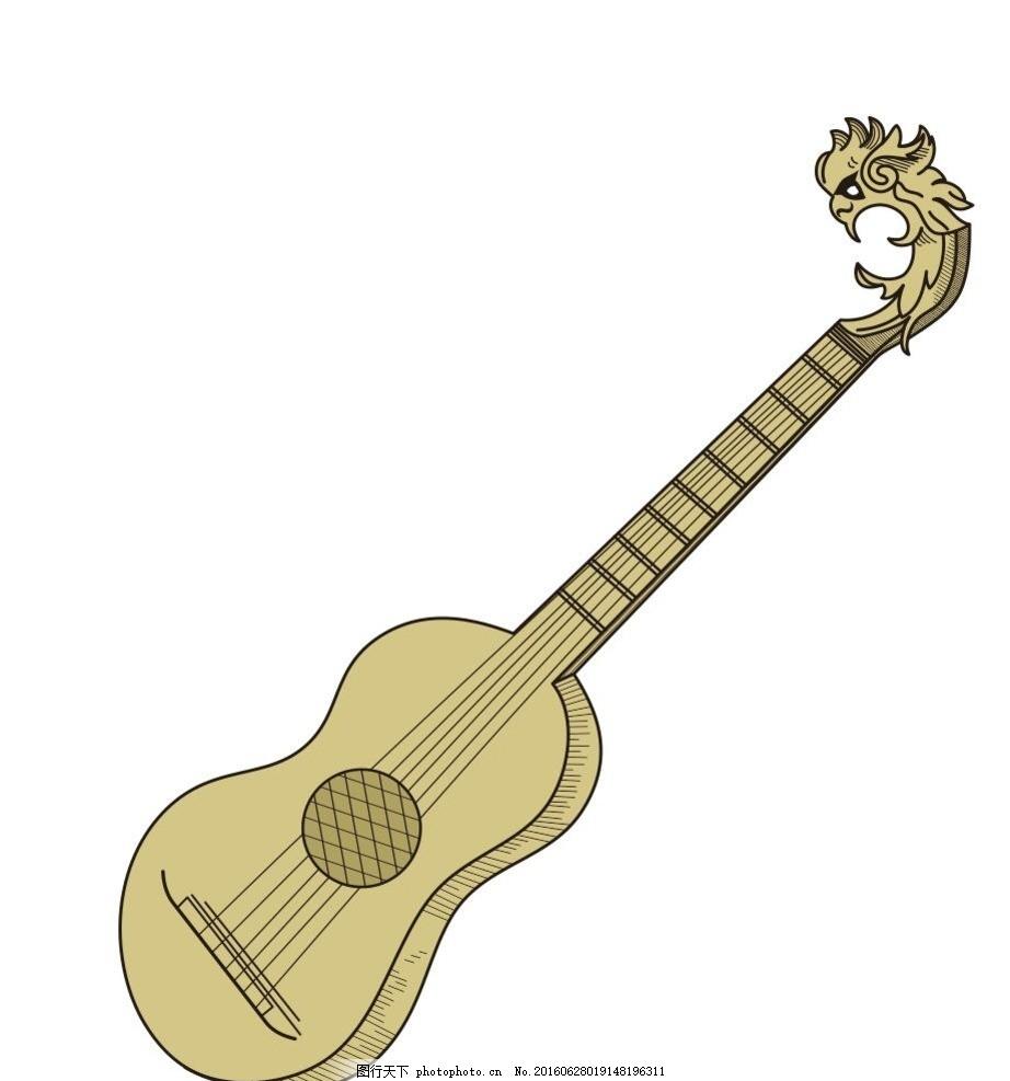 吉他 西洋乐器 音乐 演奏器具 简笔画 线条 线描 简画 黑白画