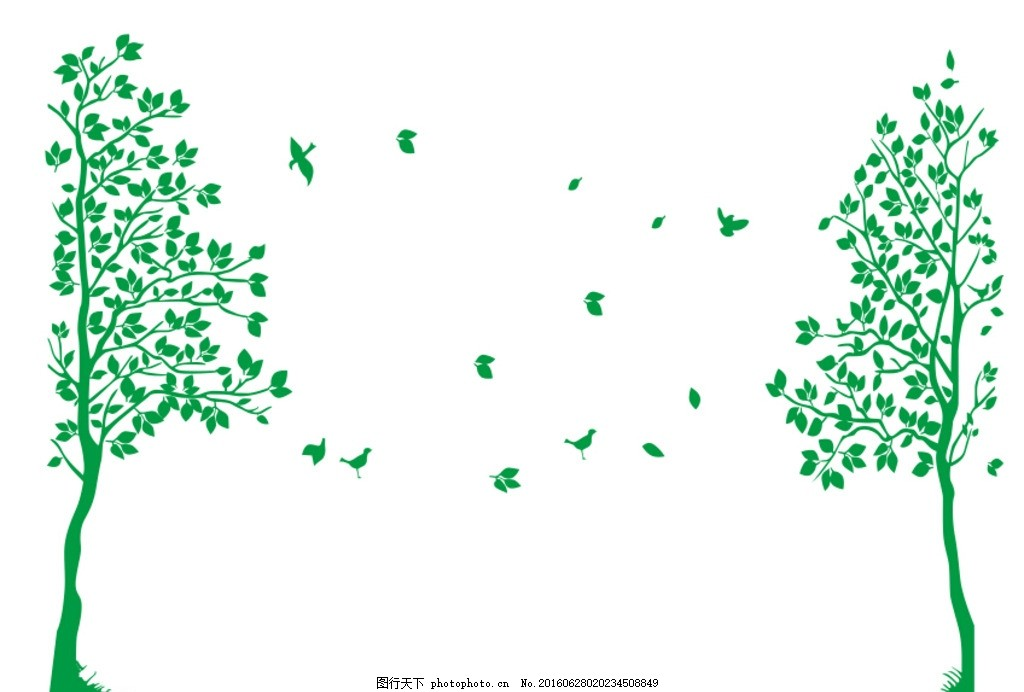 树子 图案 硅藻泥图案 不干胶 鸟 树叶