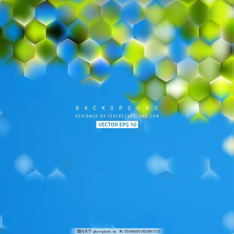 蓝绿色六角背景设计