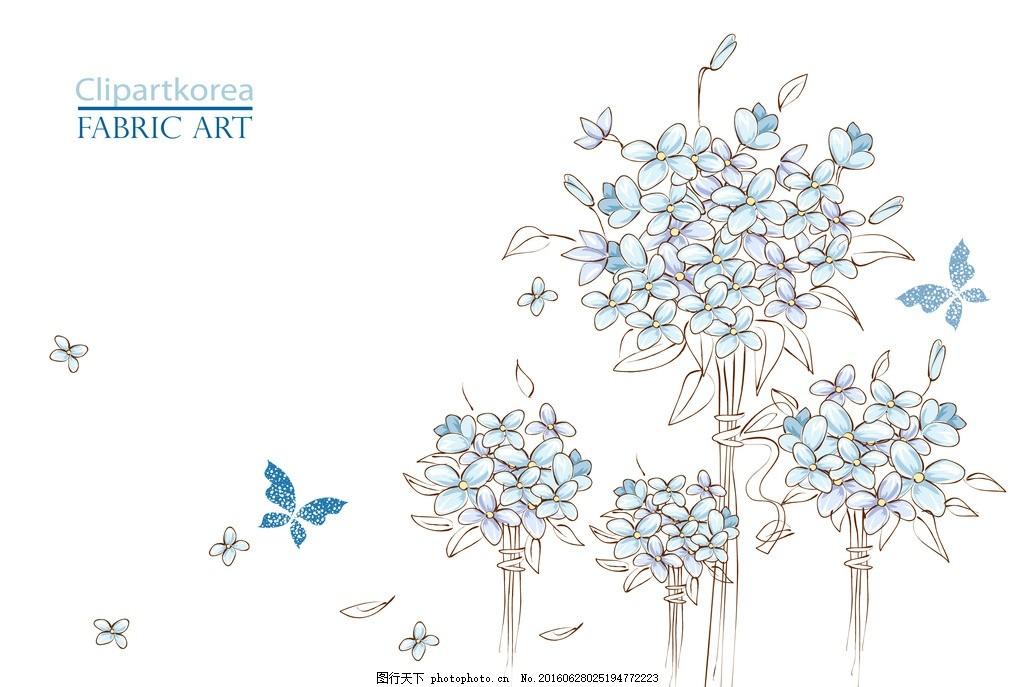 花 花卉 花朵 绣球花 蝴蝶 花瓣 铅笔画 手绘绣球花 蓝色绣球花