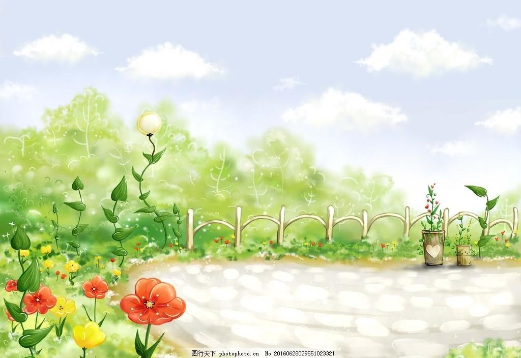 手绘花园 春季 新年 春天 花朵 手绘风景 空地 田野 零售素材