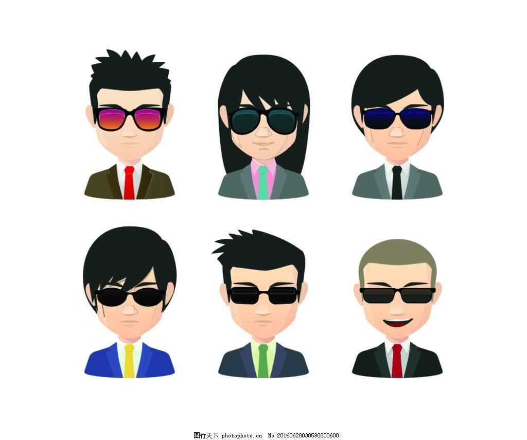 戴墨镜的潮流男女头像 卡通头像 方形图标 人物头像 人物图标 卡通