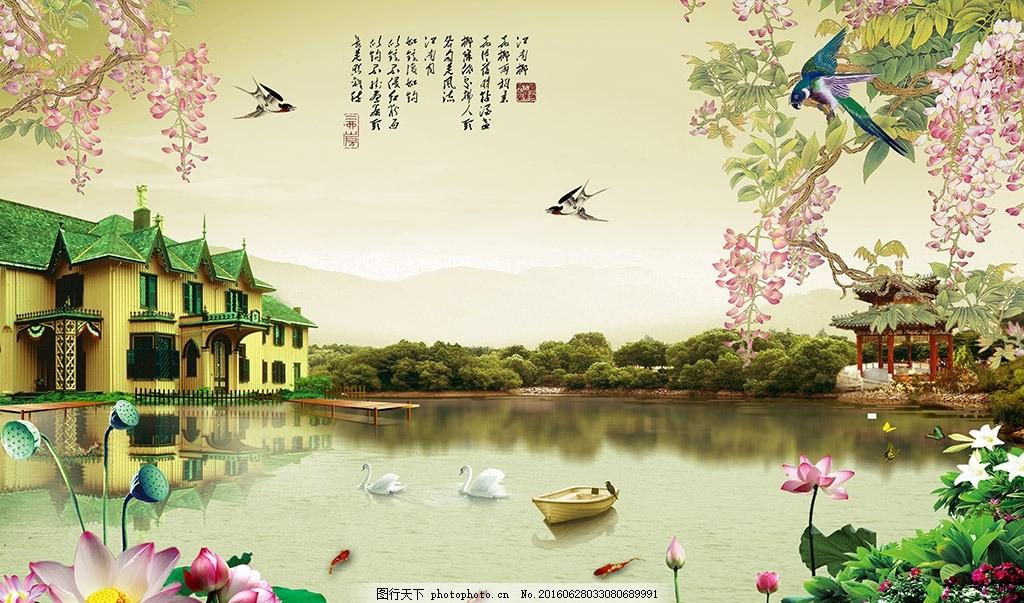 江南山水画背景墙