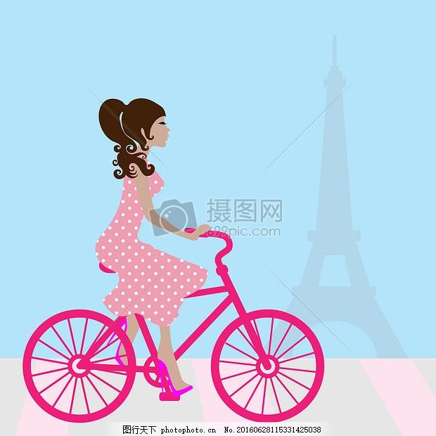 在巴黎女孩骑自行车