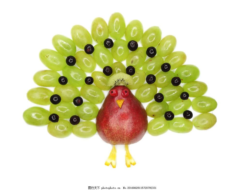 创意水果孔雀图片
