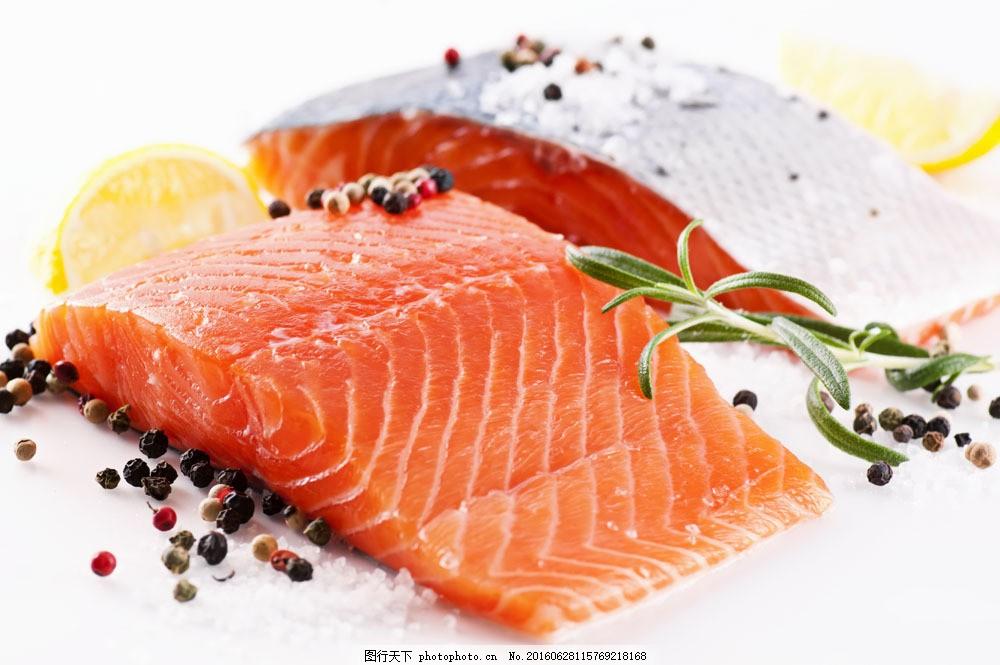 三文鱼 三文鱼图片素材 橙子 切开水果 鱼肉 外国美食 食材原料