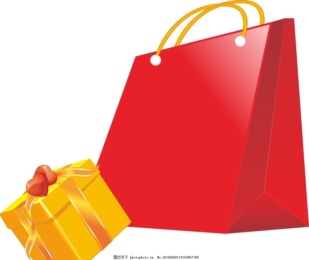 礼品盒购物袋 矢量素材 礼品盒 购物袋 矢量图 手绘素材 节日素材