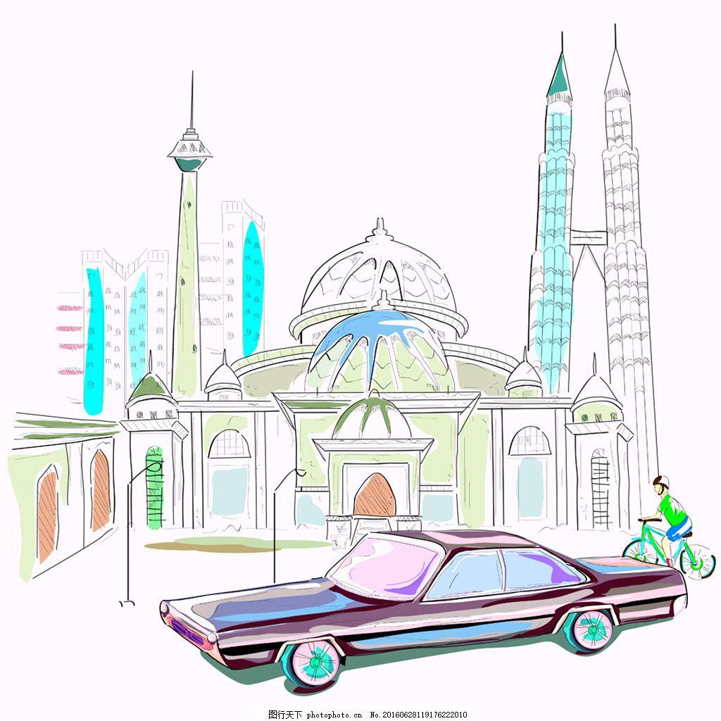 彩色的建筑和车辆 汽车 热气球 建筑 房子 彩色