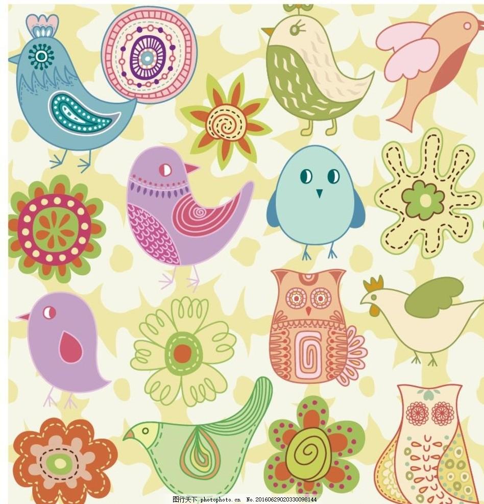 海报矢量素材 可爱小动物 彩色 海报图案 画报图案 画册图案 小鸟小花