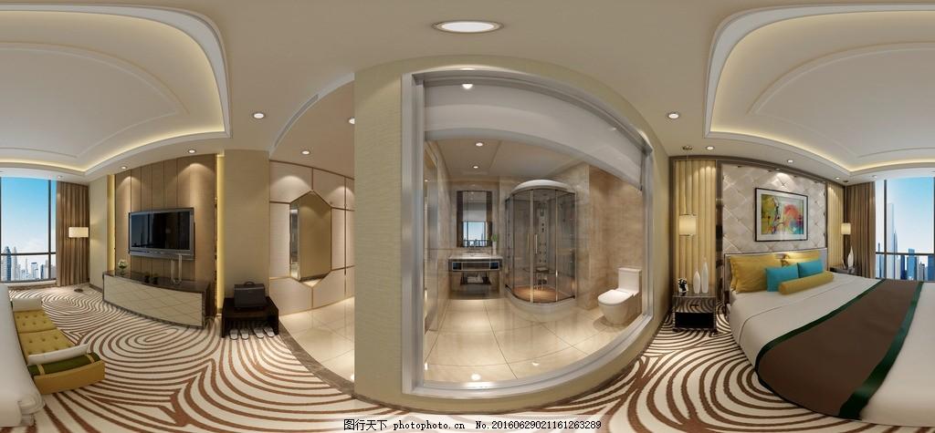 酒店客房全景效果图 酒店      全景        3d 360度 工装 设计 3d