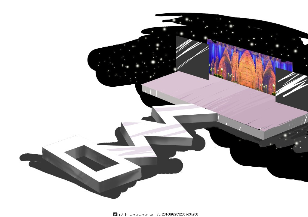 婚礼折型舞台手绘效果图