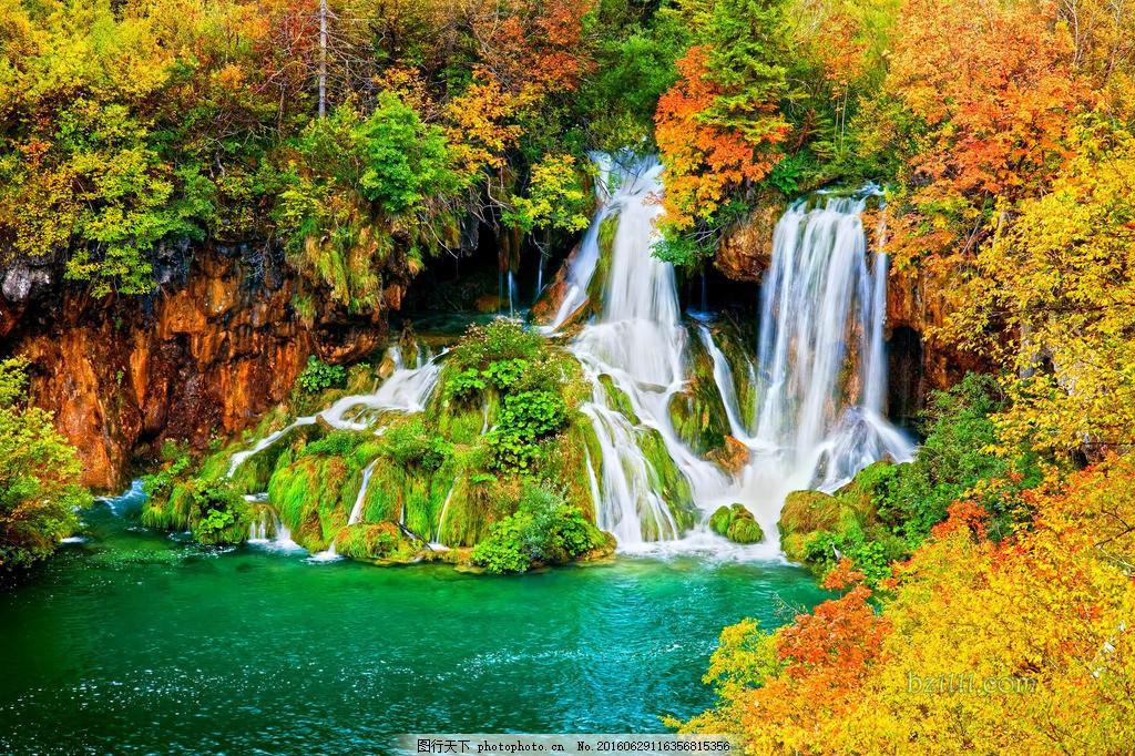 高清美丽的瀑布风景图片素材下载 山水 风景 绿色 山脉 山间