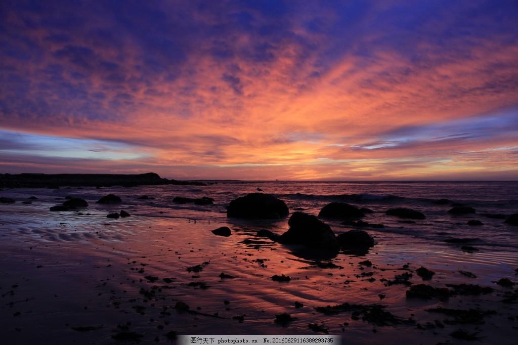 日出海滩 日出 海滩 海洋 海 天空 沙 海岸 地平线 云 景观     黑色