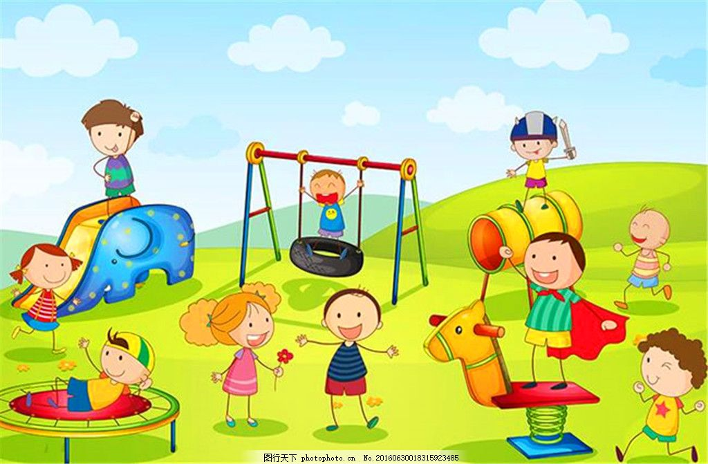 儿童插画 儿童图片 儿童 玩耍 卡通 小朋友 游乐园 游乐场 绘画 草地
