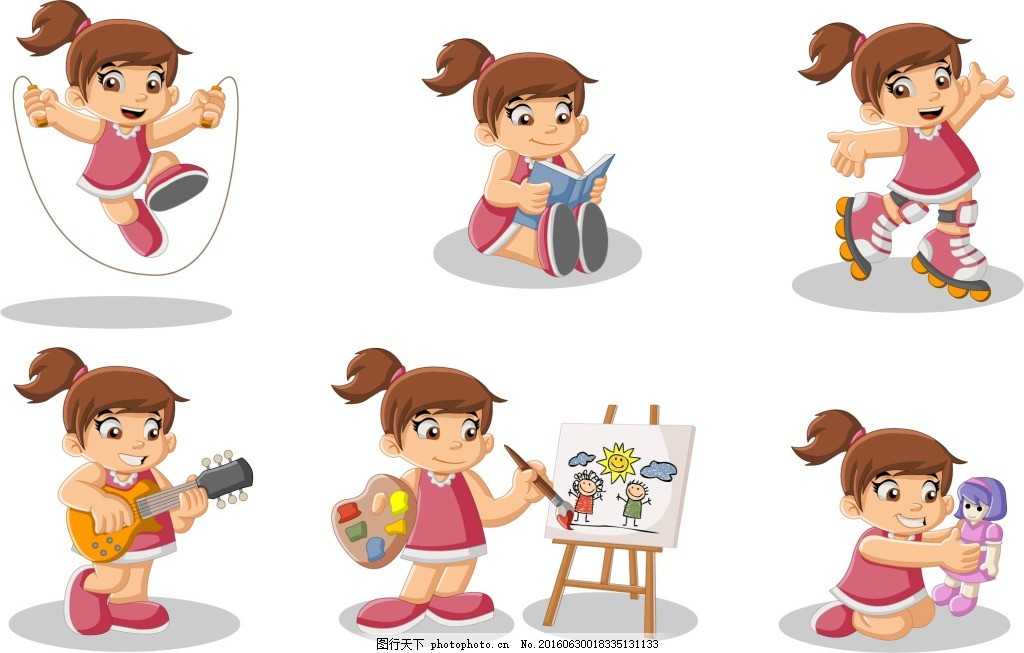 可爱的卡通儿童设计矢量素材 男孩 女孩 爱好学习特长 动画片卡通