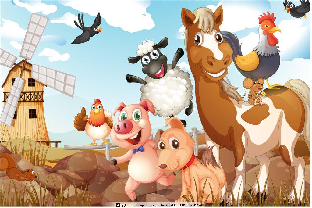 卡通动物农场矢量图
