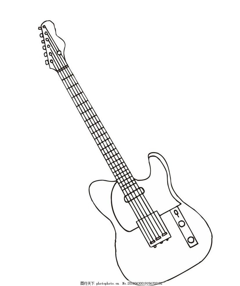 吉他简笔画 木吉他 西洋乐器 音乐 演奏器具 线条 线描 简画