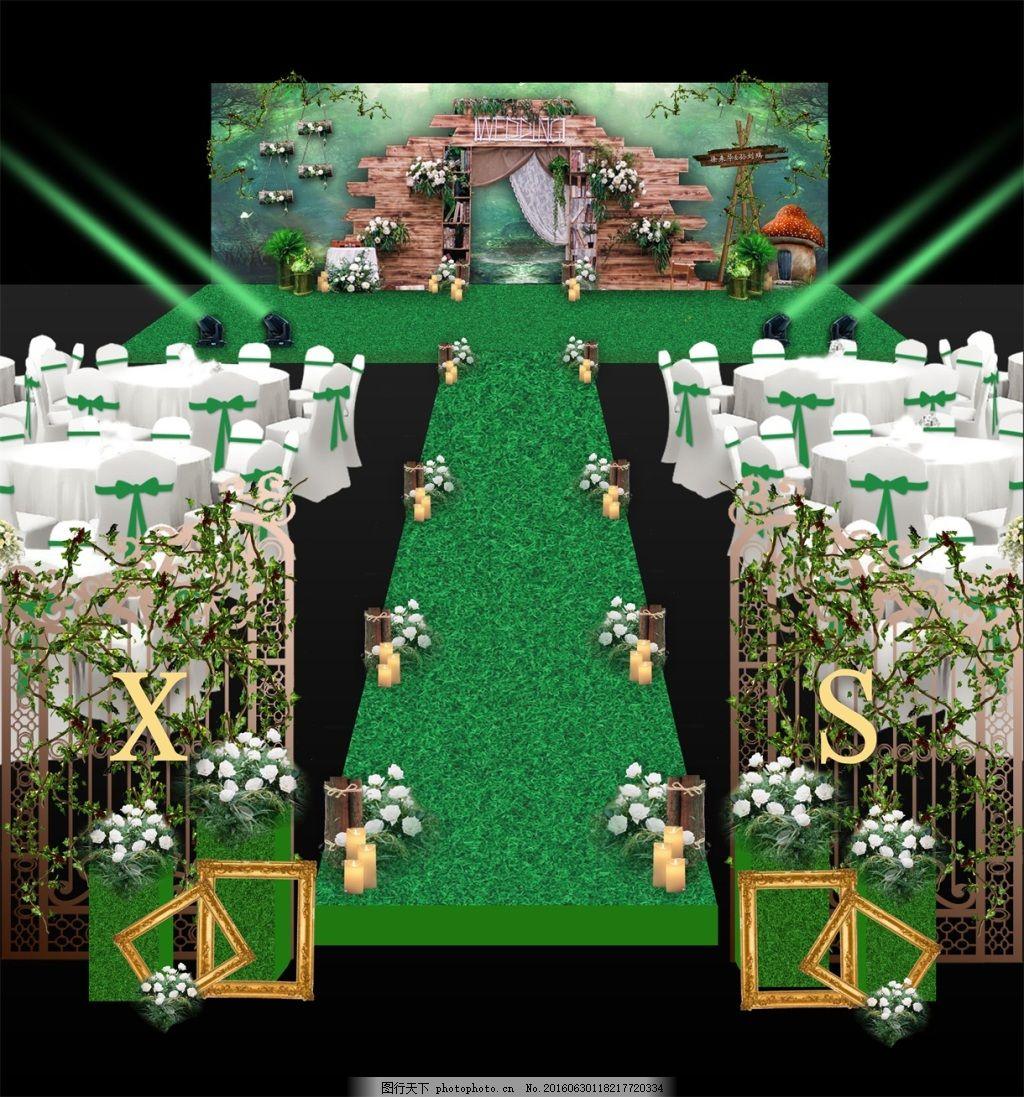 森系婚礼效果图 森系舞台 森系绿色背景