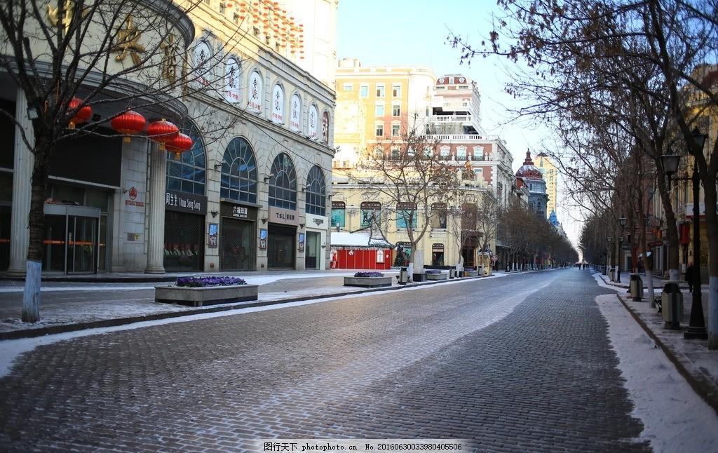 冬天街道 街道背景 街头背景 街头建筑 街头冬景 欧式建筑 专业摄影