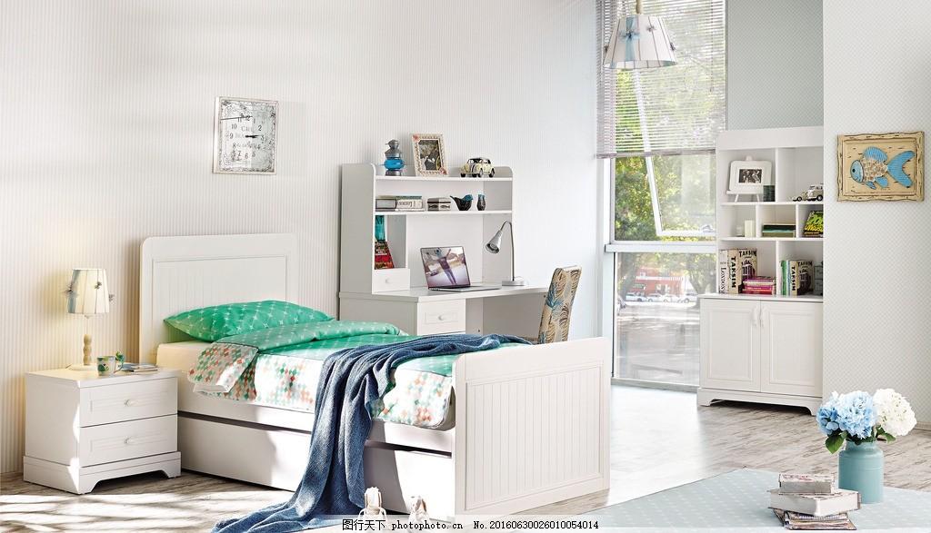 儿童房效果图 儿童房 墙纸 壁纸        室内装修 白色床 书桌 床头柜