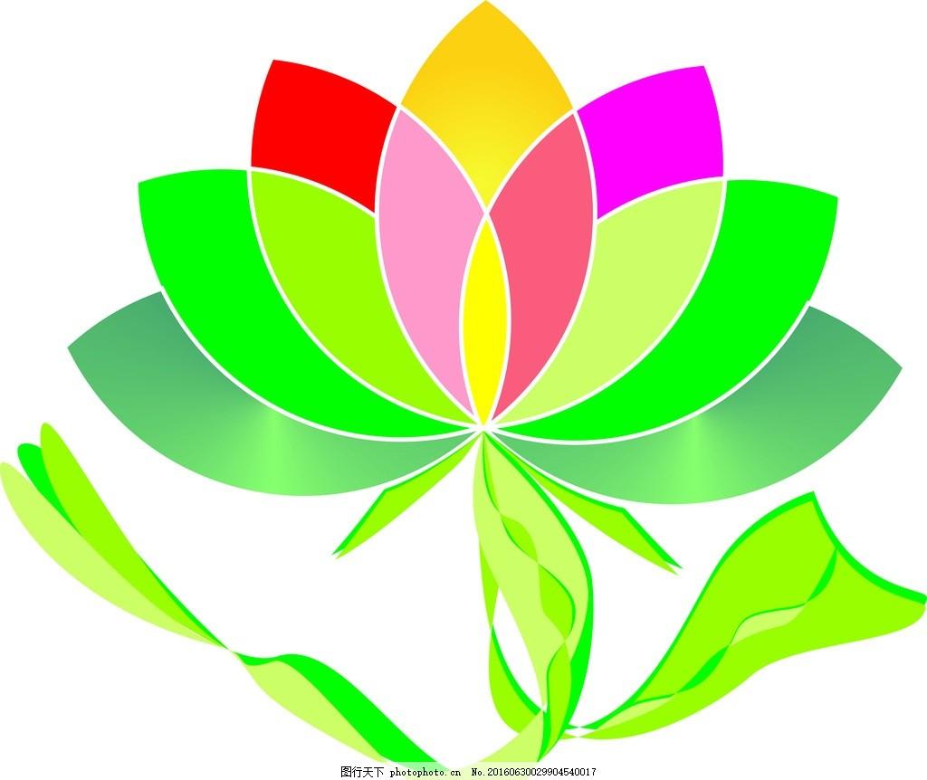 莲花 花草 彩带 树木 名片 卡片 炫彩 线条 绿色 红色 黄色
