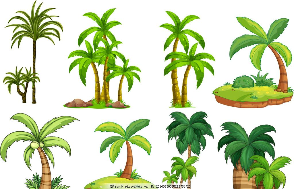 椰树 树木 绿叶 绿植 树叶 绿树 手绘树木 设计 广告设计 广告设计