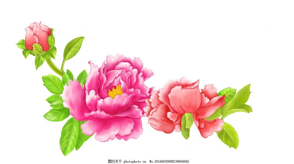 手绘牡丹花 手绘花朵 手绘质感花卉 手绘花卉墙纸 复古花卉壁纸 psd