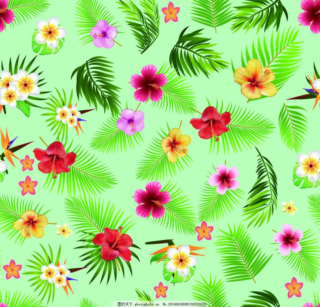 无缝连接 叶子 花卉 热带植物