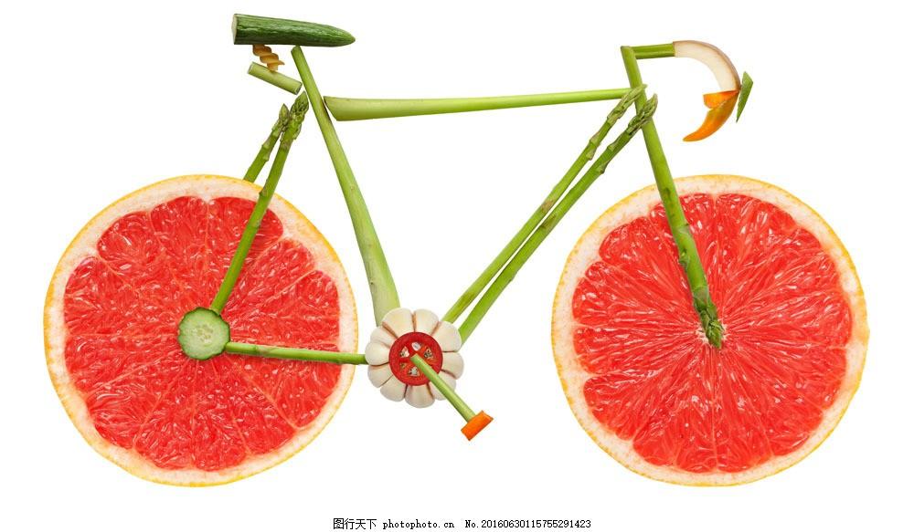 创意蔬菜水果组成的自行车 创意蔬菜水果组成的自行车图片素材 柚子片图片
