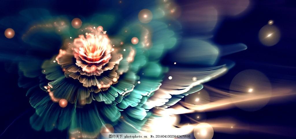 蓝色花朵,设计,素材,创意,分形,艺术,抽象